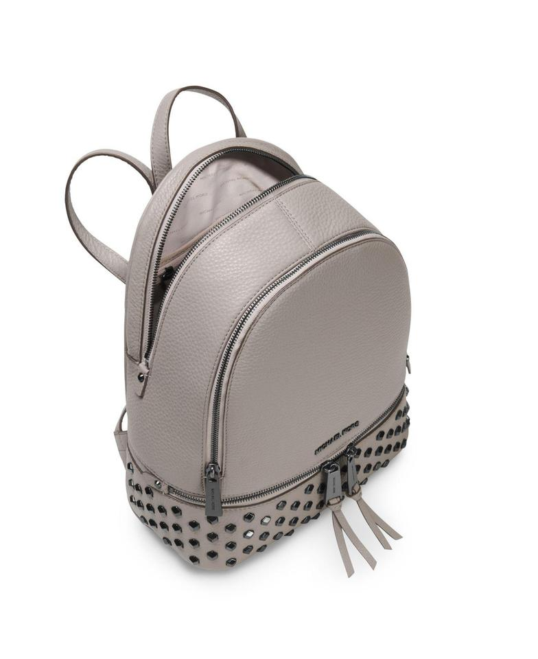 012ab42ef6f8 MICHAEL Michael Kors Leather Gunmetal Hardware Studded Adjustable Straps  Fringe Zip Backpack Image 2. 123