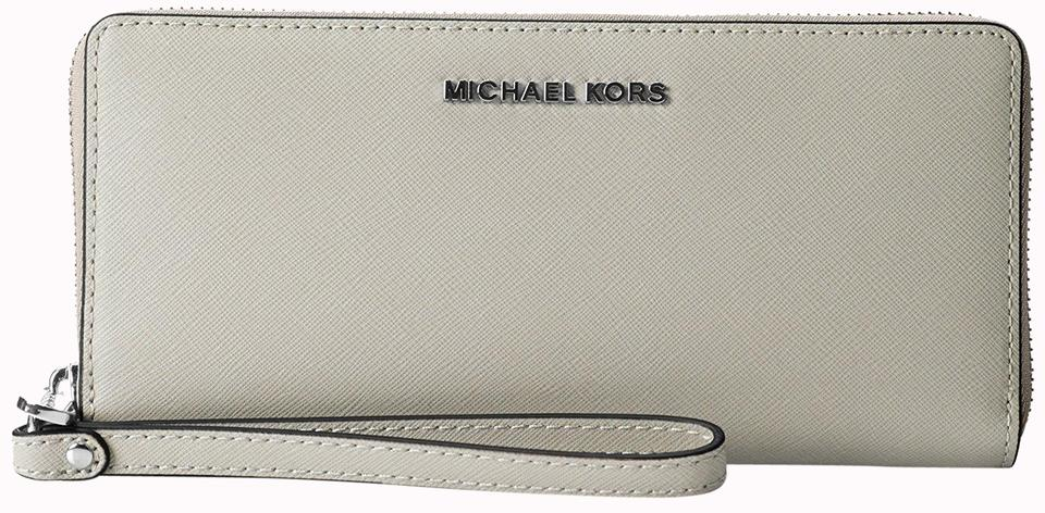 ec3af0e7b31104 Michael Kors Michael Kors Jet Set Travel Cement Saffiano Leather Continental  Wallet Image 0 ...