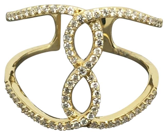 14k Yellow Gold Natural Genuine Diamond Infinity Sign Wide Ring Image 1