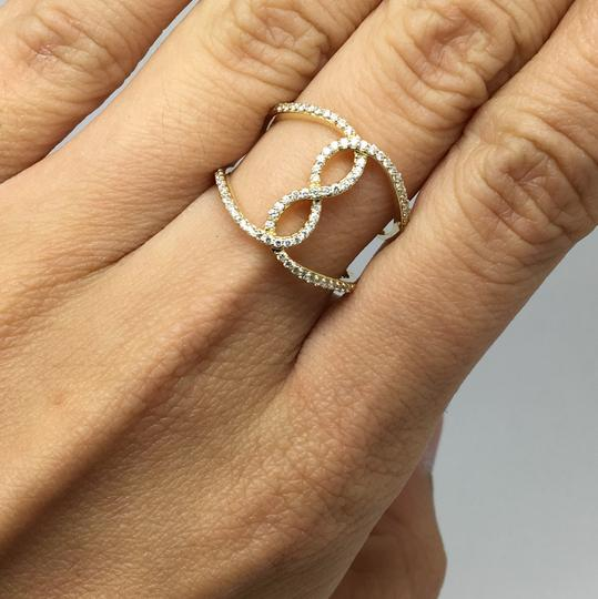 Other 14K Yellow Gold Natural Genuine Diamond Infinity Sign Wide Ring