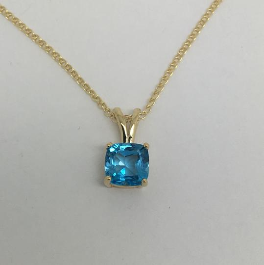 Other 14K Yellow Gold Natural Cushion Shape Blue Topaz Pendant and Chain