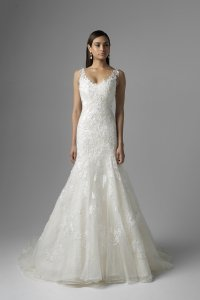 Mia Solano Ivory/Light Gold Lace/Tulle Catalina - M1601z Traditional Wedding Dress Size 12 (L)
