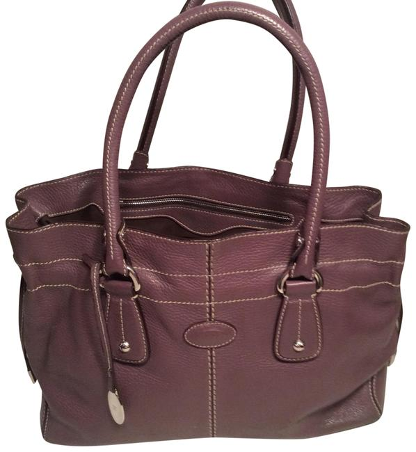Tod's Mauve Leather Satchel Tod's Mauve Leather Satchel Image 1