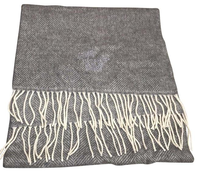 Versace Gray Tweed Designed Logo Scarf/Wrap Versace Gray Tweed Designed Logo Scarf/Wrap Image 1