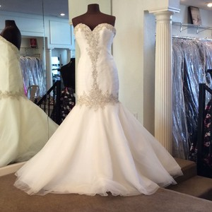 Mori Lee Ivory Organza 2682 Traditional Wedding Dress Size 6 (S)