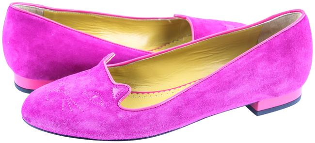Purple Charlotte Kitty Embroidered Suede Perfect Flats Size US 6.5 Regular (M, B) Purple Charlotte Kitty Embroidered Suede Perfect Flats Size US 6.5 Regular (M, B) Image 1