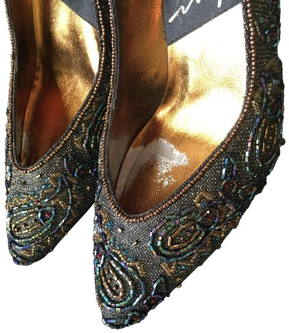 Impo Bronze Multi Colored Beading Royal Pumps Size US 7.5 Regular (M, B) Impo Bronze Multi Colored Beading Royal Pumps Size US 7.5 Regular (M, B) Image 1