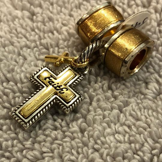 Brighton true faith charm J99821 and two textured gold spacers