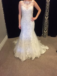 Sottero and Midgley Ivory/Lavender Tulle Lace Overlay Juno Modest Wedding Dress Size 12 (L)