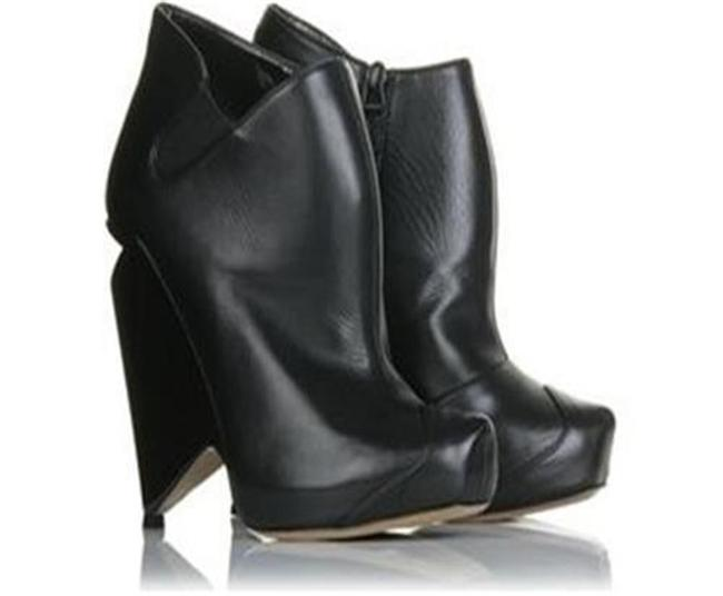 Nicholas Kirkwood Black Leather Cutout Wedge Heel Ankle Boots/Booties Boots/Booties Size EU 37 (Approx. US 7) Regular (M, B) Image 1
