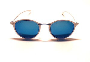 Ray-Ban Free 3 Day Shipping RB 4242 671/55 White Rounded Blue Mirrored Lens