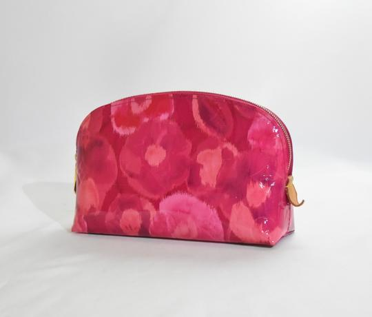 Louis Vuitton Pochette Cosmetic Pink Vernis Monogram Leather Red Pouch Bag