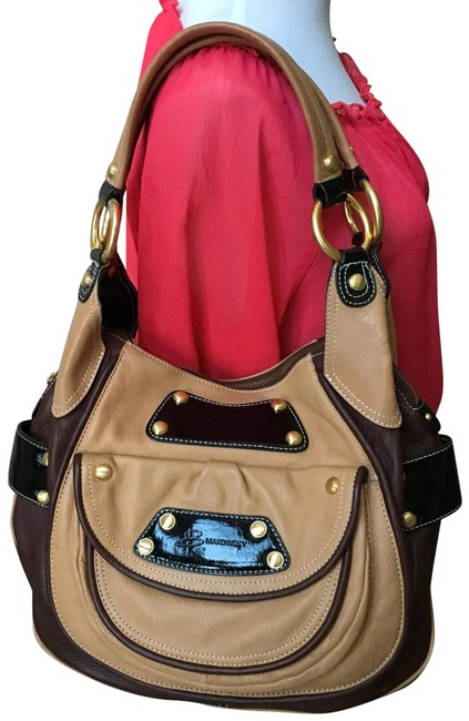 B. Makowsky Two Tone Brown Tan Leather Hobo Bag B. Makowsky Two Tone Brown Tan Leather Hobo Bag Image 1