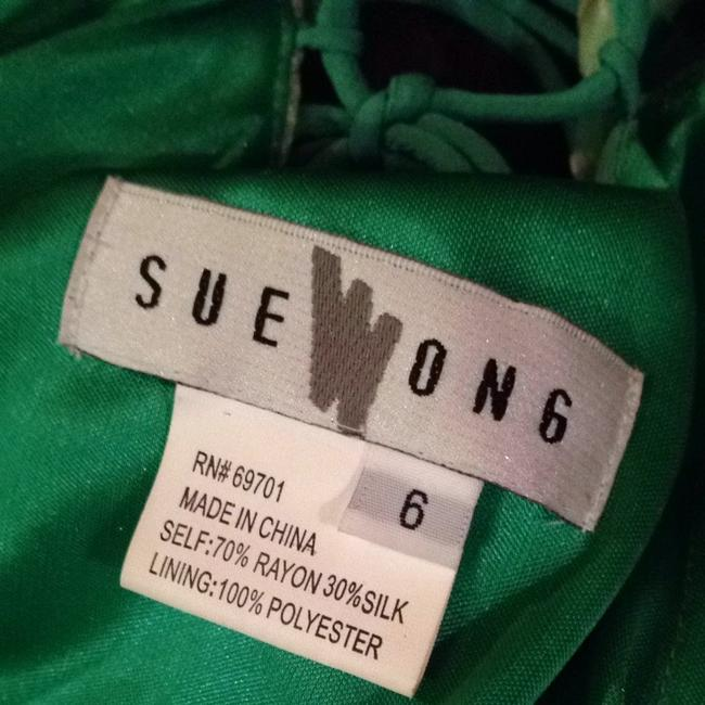 Sue Wong Summer Green Teared Spagetti Strap Dress