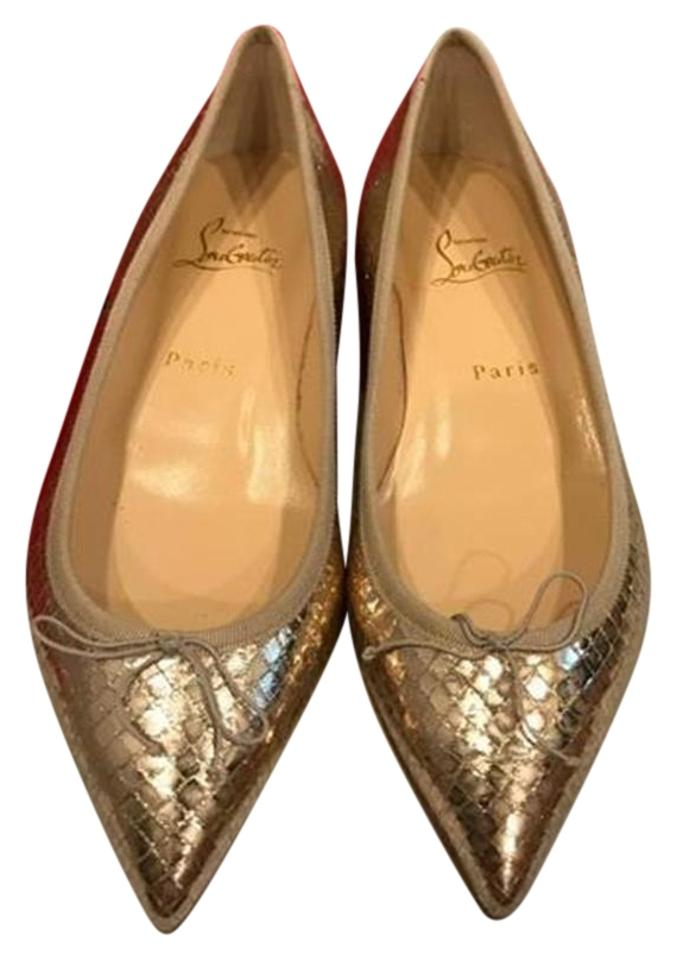 sports shoes fb178 48e91 Christian Louboutin Gold Solasofia Snake Leather Ballerina Flats Size EU 38  (Approx. US 8) Regular (M, B) 18% off retail