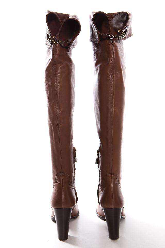 755cd0f170b Bally Brown Leather Over-the-knee Toggle Detail Boots Booties Size US 9  Regular (M