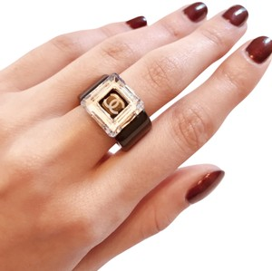 Chanel Chanel Black Resin Lucite CC Cube Ring