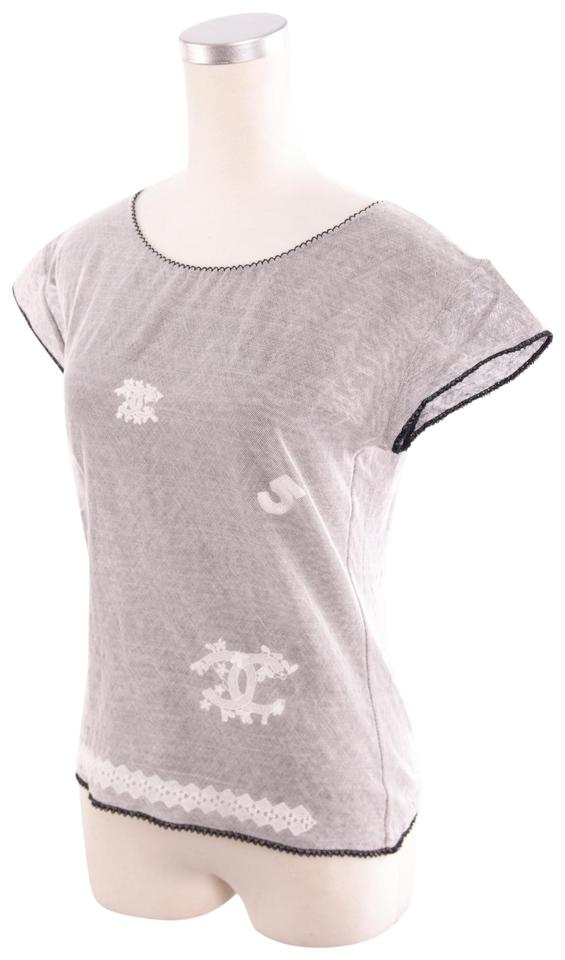Chanel grey causal tee shirt size 12 l tradesy for Authentic chanel logo t shirt