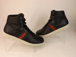 Gucci Black Gg Guccissima Web Hi Top Sneakers 7.5 8.5 #221825 Shoes