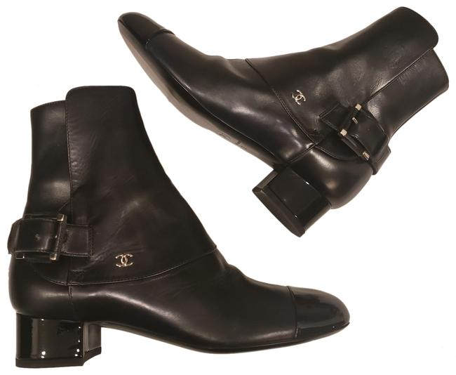 Chanel Black 13b Leather Patent Cap Toe Buckled Ankle Boots/Booties Size EU 37 (Approx. US 7) Regular (M, B) Chanel Black 13b Leather Patent Cap Toe Buckled Ankle Boots/Booties Size EU 37 (Approx. US 7) Regular (M, B) Image 1