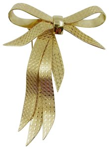 Dior Christian Dior Vintage Pin Bow Brooch Ribbon Gold Engraved Cannage