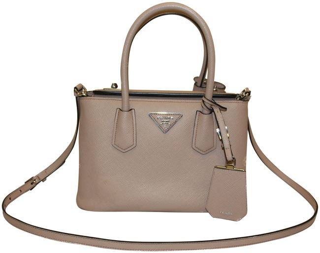 Prada Bag Twin Cammeo Saffiano Pink Leather Tote Prada Bag Twin Cammeo Saffiano Pink Leather Tote Image 1