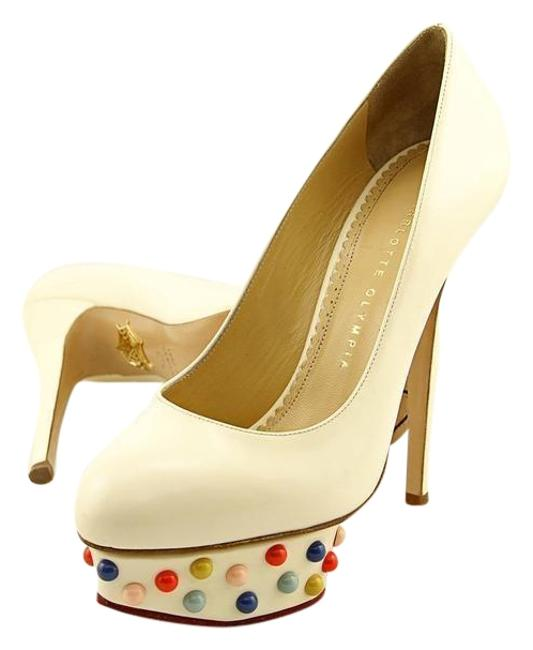 Charlotte Olympia White Dolly Studs Women Pumps Size US 7.5 Regular (M, B) Charlotte Olympia White Dolly Studs Women Pumps Size US 7.5 Regular (M, B) Image 1