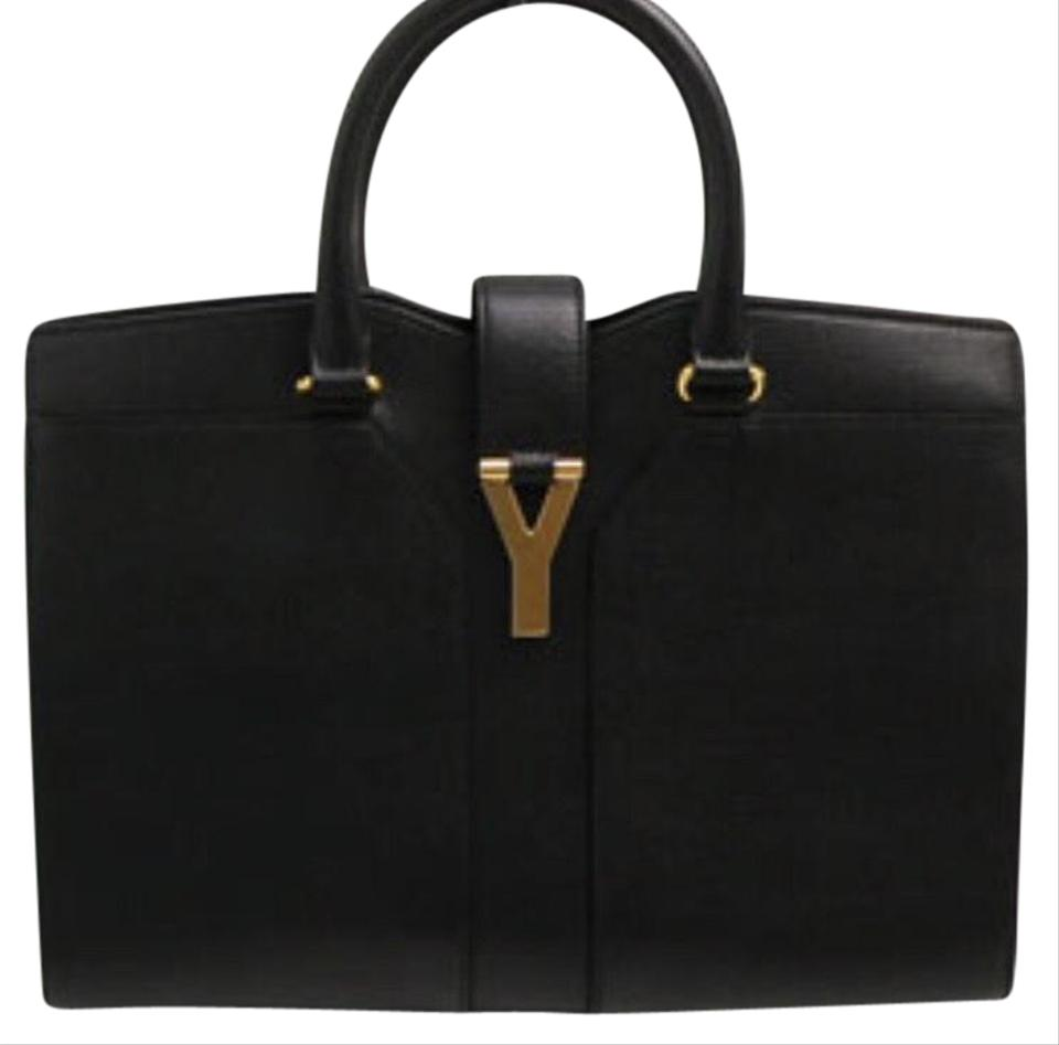 c17a6ce4c4cf Saint Laurent ChYc Yves Tote Cabas Black Hippopotamus Leather ...
