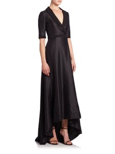 Black Halo Hi-low Hem Shawl Collar Elbow Sleeves Special Occasion Dress