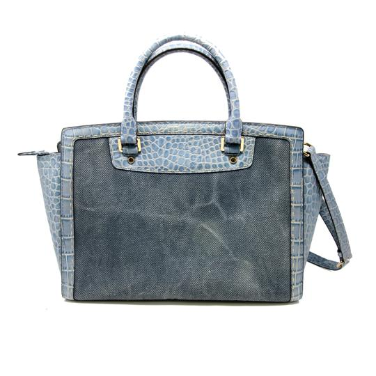 Michael Kors Marc Jacobs Monogram Python Laptop Hamilton Satchel in Distressed Denim Blue
