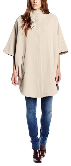 Preload https://img-static.tradesy.com/item/22602880/ivory-biege-34-sleeve-button-up-coat-elliptical-dip-hem-616-ponchocape-size-8-m-0-1-650-650.jpg