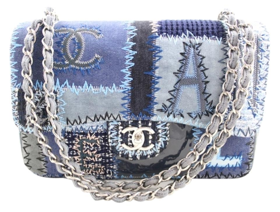 50013cc88cc6a2 Chanel Jumbo Patchwork Quilted Tweed Embroidered Denim Jean Chain Shoulder  Bag Image 0 ...