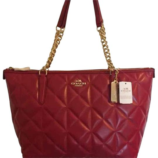 Preload https://img-static.tradesy.com/item/22602947/coach-ava-chain-red-in-quilted-ted-leather-tote-0-1-540-540.jpg