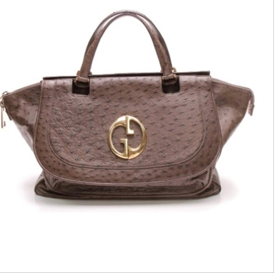 041752cd396 Gucci 1973 Top Handle Brown Ostrich Leather Tote - Tradesy