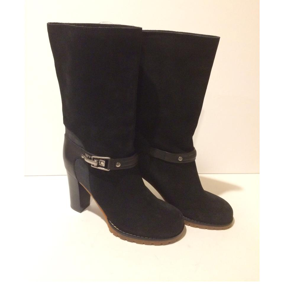 d64d13468773 See by Chloé Black New Buckle Mid Calf Suede Leather Boots Booties ...