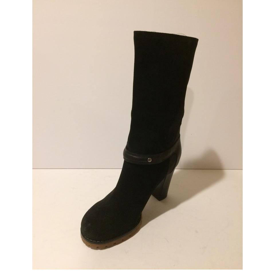 37dfe06397ee See by Chloé Black New Buckle Mid Calf Suede Leather Boots Booties Size EU  36 (Approx. US 6) Regular (M
