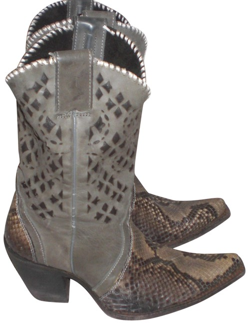 Gray Western Cowboy Snakeskin Leather B Boots/Booties Size US 7.5 Regular (M, B) Gray Western Cowboy Snakeskin Leather B Boots/Booties Size US 7.5 Regular (M, B) Image 1