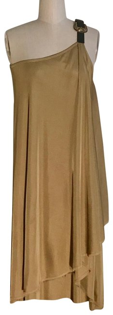 Item - Tan Leather Buckle Mid-length Short Casual Dress Size 4 (S)