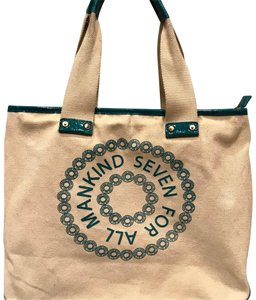 7 For All Mankind Tote in beige n turquoise