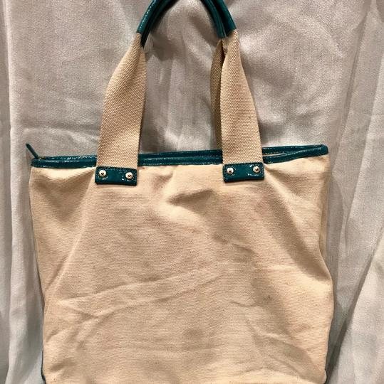 7 For All Mankind Tote in beige n turquoise Image 1