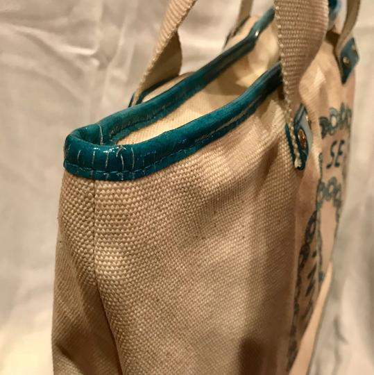 7 For All Mankind Tote in beige n turquoise Image 3
