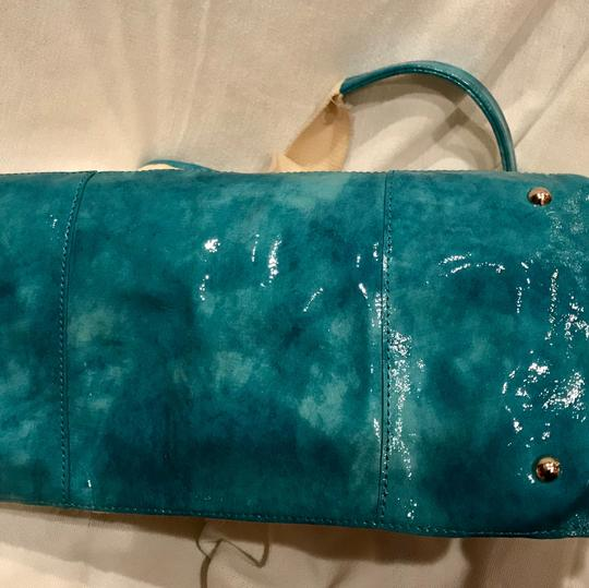 7 For All Mankind Tote in beige n turquoise Image 4