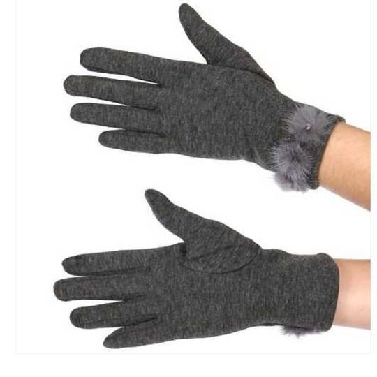 gloves New Womens faux suede fleece inside pom pom gloves with Rabbit Fur Image 2