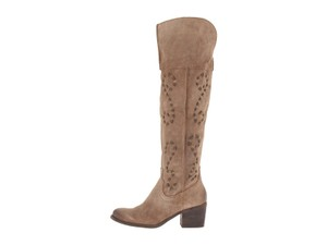 Carlos by Carlos Santana Suede Embroidered Over The Knee Taupe Boots