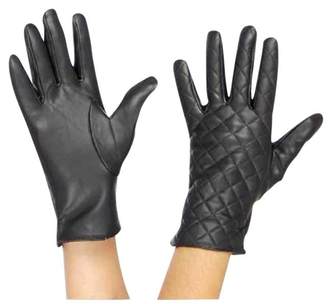 Gray New Womens Faux Leather Quilted Gloves Gray New Womens Faux Leather Quilted Gloves Image 1