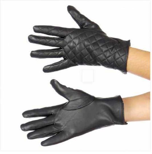 plaid New Womens Faux Leather Quilted Gloves Image 2