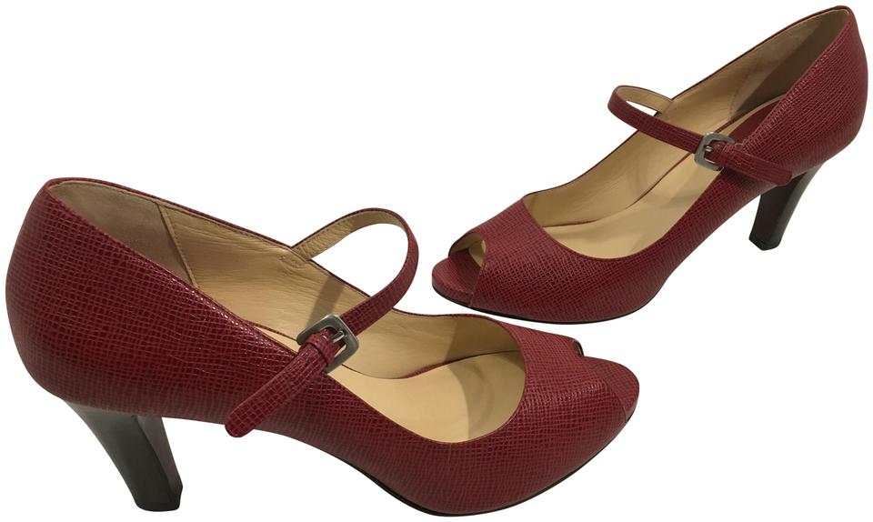 e161963998a Cole Haan Red Embossed All Leather Foot Strap Nikeair Soles Stack Wood Heels  Peep Toe Pumps