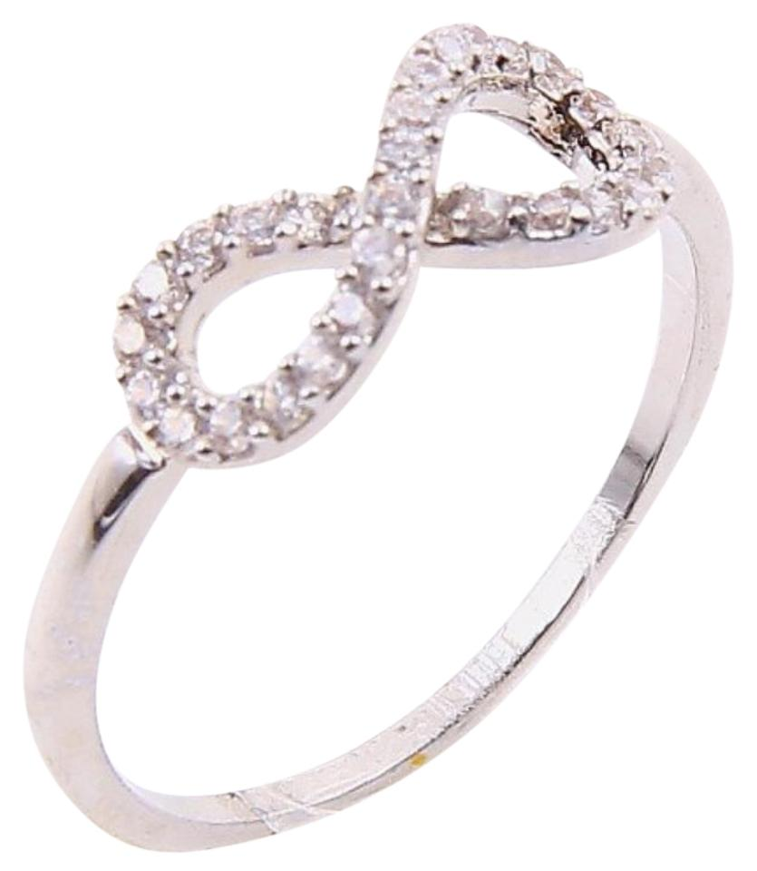 085df9ccdfe1 Bloomingdale s Silver Rhinestone Pave Cz Diamond Infinity Sign Bridal 6 Ring