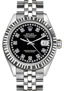Rolex Rolex Ladies 26mm Datejust with Diamond Black Dial