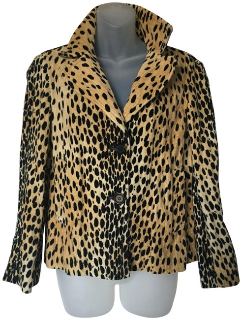 DKNY Beige and Black Animal Print Velveteen Fully Lined Short Crop Jacket Size 2 (XS) DKNY Beige and Black Animal Print Velveteen Fully Lined Short Crop Jacket Size 2 (XS) Image 1